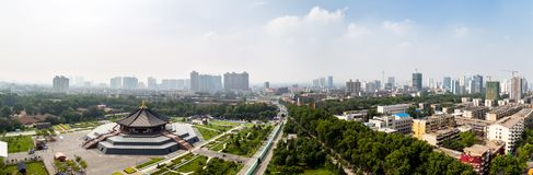 July 2017 - Luoyang, Henan province, China - Panoramic view from the top of Tian Tang, or Heavenly Hall, royalty free stock image