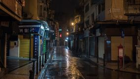 02 July, 2018. Macao, China. Night view of old building and street at Macau after rain stock image