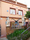 04 july 2016, Malgrat de Mar, Spain. Beautiful decorated facade. With flowers and sculptures Stock Photos