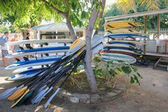 July 2014 Mauritius,Africa. Surfing school. Surf school equipment on the beach royalty free stock photos