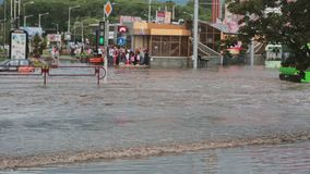 JULY 20 2016 MINSK, BELARUS Flood on busy road in city streets after rain with sound. Crowd of people stand and wait. JULY 20 2016 MINSK, BELARUS Flood on a stock video