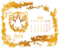 July month. With tiger grunge Calendar 2010 year Royalty Free Stock Photo