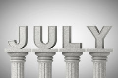 July month sign on a classic columns Stock Images
