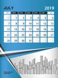 JULY 2019 Month template, Desk Calendar for 2019 year, week start on sunday, planner. Stationery, Blue Concept, vertical layout vector illustration Royalty Free Stock Photography