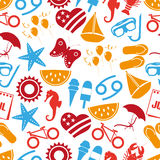 July month theme set of simple icons colorful seamless pattern eps10 Royalty Free Stock Photography
