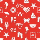 July month theme set of simple icons red seamless pattern eps10 Stock Image