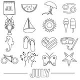 July month theme set of simple outline icons eps10 Stock Photography