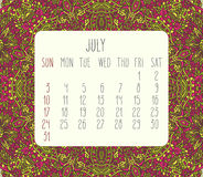 July 2016 monthly calendar. July 2016 vector monthly calendar over lacy doodle hand drawn background, week starting from Sunday Stock Photography