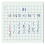 July 2016 monthly calendar Stock Photography