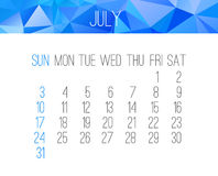 July 2016 monthly calendar Royalty Free Stock Photos