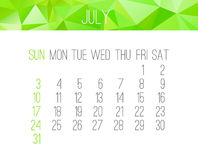 July 2016 monthly calendar. July 2016 vector monthly calendar. Week starting from Sunday. Contemporary low poly design in bright green color Stock Images