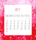 July 2016 monthly calendar Stock Image