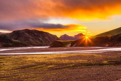 The July morning in the Landmannalaugar Stock Photography