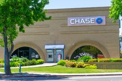 July 3, 2019 Mountain View / CA / USA - Chase Bank branch and ATM stock photos