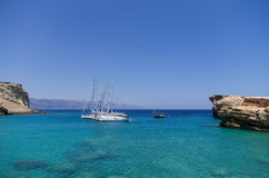 July 22nd 2014 - Sailing yachts anchored in a gulf in Ano Koufonisi island, Cyclades, Greece Stock Photo