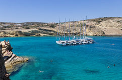 July 22nd 2014 - Sailing yachts anchored in a gulf in Ano Koufonisi island, Cyclades, Greece Stock Photos