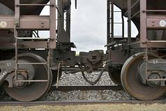 Coupling between two railway cars. JULY 11, 2017 - NEBRASKA, USA : Close-up photograph of the coupling mechanism between two railway cars in Nebraska on July, 11 royalty free stock photos