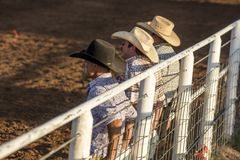 JULY 22, 2017 NORWOOD COLORADO - cowboy in plad shirt watches San Miguel Basin Rodeo, San Miguel.  Cowboy Hat,  USA. JULY 22, 2017 NORWOOD COLORADO - cowboy in Royalty Free Stock Images