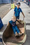 JULY 22, 2017 NORWOOD COLORADO - Little boy in wheel barrel at San Miguel Basin Rodeo, San Miguel.  Norwood,  Americana. JULY 22, 2017 NORWOOD COLORADO - Little Royalty Free Stock Photos