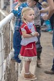 JULY 22, 2017 NORWOOD COLORADO - little cowgirl at San Miguel Basin Rodeo, San Miguel County.  Western,  Man. JULY 22, 2017 NORWOOD COLORADO - little cowgirl at Stock Photo