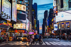 July 2016 people are crossing the street Times Square during sun. Set, Manhattan, New York United State royalty free stock images