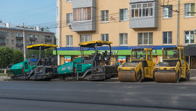 July 30, 2016. Photo of road construction equipment outside of t. He city of Cheboksary. Laying asphalt road. Cheboksary. Russia Stock Photo