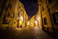 11 July,2017,Poland, Krakow. Market Square at night.The Main Mar Royalty Free Stock Photos
