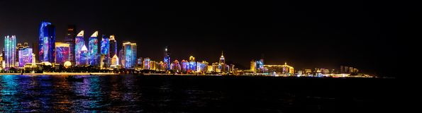 July 2018 - Qingdao, China - The new lightshow of Qingdao skyline created for the SCO summit royalty free stock photography