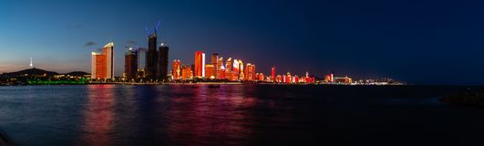 July 2018 - Qingdao, China - The new lightshow of Qingdao skyline created for the SCO summit royalty free stock image