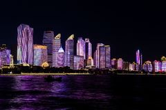 July 2018 - Qingdao, China - The new lightshow of Qingdao skyline created for the SCO summit stock photos