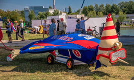 July 26, 2015. Red Bull Flugtag. Before the competition starts. July 26, 2015. Red Bull Flugtag.. Launch pad ready. Operators on rafts ready. Participants are Stock Image