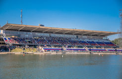 July 26, 2015. Red Bull Flugtag. Before the competition starts. July 26, 2015. Red Bull Flugtag.. Launch pad ready. Operators on rafts ready. Participants are Royalty Free Stock Photography