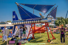 July 26, 2015. Red Bull Flugtag. Before the competition starts. July 26, 2015. Red Bull Flugtag.. Launch pad ready. Operators on rafts ready. Participants are Royalty Free Stock Images