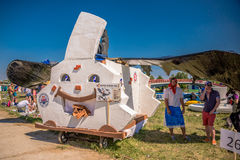 July 26, 2015. Red Bull Flugtag. Before the competition starts. July 26, 2015. Red Bull Flugtag.. Launch pad ready. Operators on rafts ready. Participants are Royalty Free Stock Image