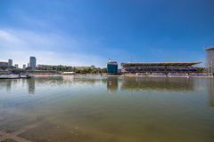 July 26, 2015. Red Bull Flugtag. Before the competition starts. July 26, 2015. Red Bull Flugtag.. Launch pad ready. Operators on rafts ready. Participants are Royalty Free Stock Photos