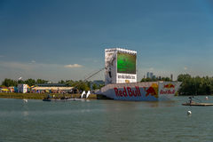 July 26, 2015. Red Bull Flugtag. Before the competition starts. Before the start only a few minutes. The weather is great, clear. Launch pad ready. Operators Stock Image