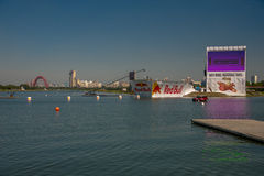 July 26, 2015. Red Bull Flugtag. Before the competition starts. Before the start only a few minutes. The weather is great, clear. Launch pad ready. Operators Royalty Free Stock Image