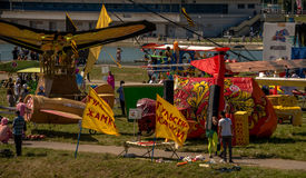 July 26, 2015. Red Bull Flugtag. Before the competition starts. Before the start only a few minutes. The weather is great, clear. Launch pad ready. Operators Royalty Free Stock Images
