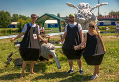 July 26, 2015. Red Bull Flugtag. Before the competition starts. Before the start only a few minutes. The weather is great, clear. Launch pad ready. Operators Royalty Free Stock Photos