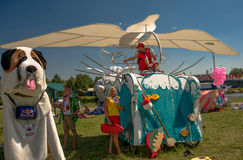 July 26, 2015. Red Bull Flugtag. Before the competition starts. Before the start only a few minutes. The weather is great, clear. Launch pad ready. Operators Stock Photography