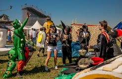 July 26, 2015. Red Bull Flugtag. Before the competition starts. Before the start only a few minutes. The weather was excellent, clear. Launch pad ready Royalty Free Stock Photo