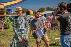 July 26, 2015. Red Bull Flugtag. Before the competition starts. Before the start only a few minutes. The weather was excellent, clear. Launch pad ready Stock Photos