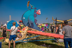 July 26, 2015. Red Bull Flugtag. Before the competition starts. Before the start only a few minutes. The weather was excellent, clear. Launch pad ready Stock Image