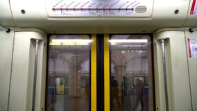 20 July 2017. Russia. The Moscow subway. at a stop the doors open. Go passengers. 20 July 2017. Russia. The Moscow subway. at a stop the doors open. Go stock footage