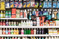 July 5, 2021, Russia, Moscow. Various goods of the economic department in the supermarket.