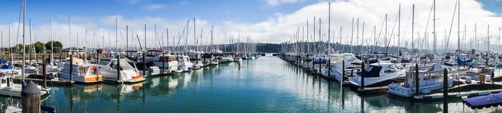 Panorama of one of the marinas in Sausalito, San Francisco bay area Royalty Free Stock Photos