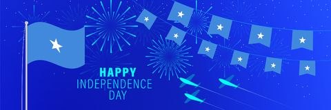July 1 Somalia Independence Day greeting card.  Celebration background with fireworks, flags, flagpole and text. Vector illustration stock illustration