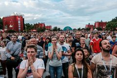 July 1st 2018, Moscow, Russia. Russian supporters celebrate the Royalty Free Stock Photography