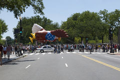 July 1st parade. Parade in Washington DC with a giant hot air ballon bald eagle royalty free stock photography