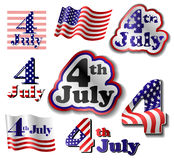 4 July sticker set Royalty Free Stock Photos
